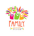 colorful happy family logo design template vector image vector image