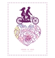 colorful line art flowers couple on tandem bicycle vector image vector image