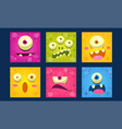 cute monsters emoticons set colorful mutant vector image