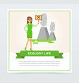 ecological lifestyle concept with woman protesting vector image