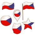 flag of the czech republic made in various shapes vector image vector image