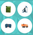 flat icon petrol set of rig container van and vector image vector image