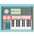 Flat old analog synthesizer vector image