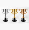 gold silver and bronze winners cups shiny vector image vector image