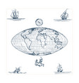 graphic earth globe map with vector image