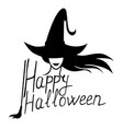 halloween greeting card with witch and text vector image