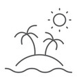 island thin line icon travel and tourism palm vector image vector image