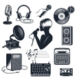Karaoke Elements Monochrome Vintage Set vector image vector image