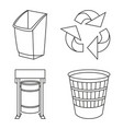 line art black and white recycling garbage set vector image