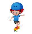 little boy in blue helmet playing skateboard vector image