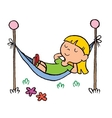 little girl relaxing in a hammock vector image vector image