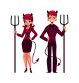 man and woman dressed as devils in business suits vector image vector image