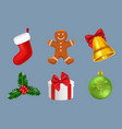 merry christmas icons realistic winter season vector image