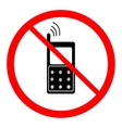 No telephone sign in red ring vector image vector image