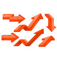 orange arrows 3d icons set vector image vector image