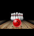 red glossy ball rolling on bowling alley line to vector image vector image