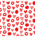 red hearts shapes romantic seamless pattern vector image