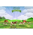 Rural sunrise landscape with cows and farm vector image vector image