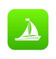 sailing ship icon digital green vector image vector image
