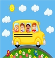 School bus with happy children cartoon vector | Price: 1 Credit (USD $1)