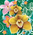 Seamless floral pattern with orchid on green vector image vector image