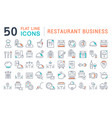 set line icons restaurant business vector image