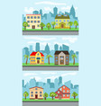 set of three of city street vector image vector image