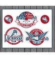 Set of vintage lacrosse labels and badges vector image vector image