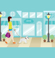 shopping woman with her dog vector image