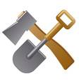 Shovel and axe vector image