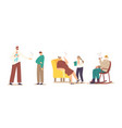 smoking family concept adult family characters vector image vector image