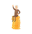 successful senior businessman on coin stack vector image vector image