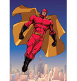 superhero flying above the city vector image vector image