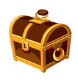 vintage wooden chest with gold handle hinge vector image vector image
