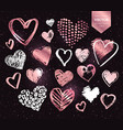 white and rose gold grunge valentine hearts vector image