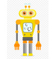 yellow cheerful cartoon robot character vector image vector image