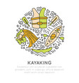 summer kayaking icon set hand draw style vector image