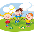 Kids on the lawn vector image