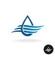Water drop with waves elegant logo vector image