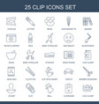 25 clip icons vector image vector image