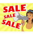 a woman is shouting about a sale vector image vector image