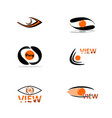abstract eye in black and orange colors a set of vector image vector image
