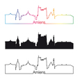 Amiens skyline linear style with rainbow vector image vector image