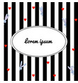 black and white striped background with cartoon vector image vector image