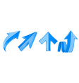 blue arrows set 3d up web icons vector image vector image