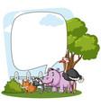 bubble template with cute animals vector image vector image