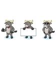 Buffalo Gray Mascot happy vector image vector image