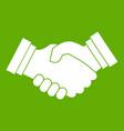 business handshake icon green vector image vector image