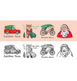 car and bicycle with a christmas tree spruce iand vector image