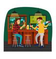 cartoon best friends watching football game in bar vector image vector image